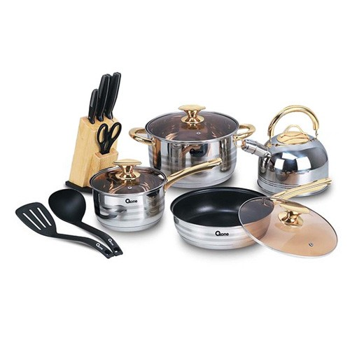 Oxone Panci Cookware Set OX-777 Rose Gold + Knife Block