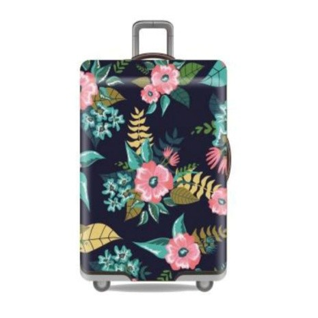 Travel With Us Luggage Cover Size M - Floral Deep Blue