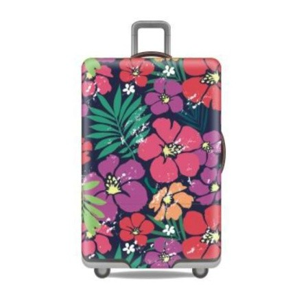 Travel With Us Luggage Cover Size S - Floral Purple
