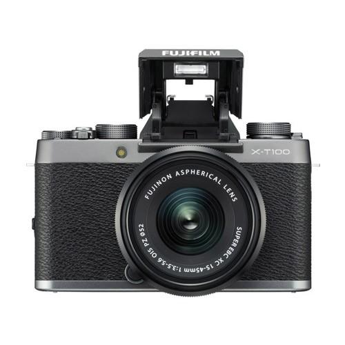 Fujifilm Mirrorless Digital Camera X-T100 with 15-45mm Lens - Dark silver