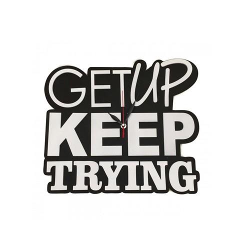 Zenon Premium Wooden Clock Jam Dinding Kayu 3D Embossed - Motivation Series - WWMOT023 - Get Up Keep Trying