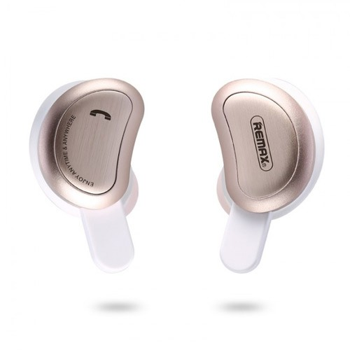 Remax Binaural Bluetooth Headset with Charging Box TWS-1 - Gold