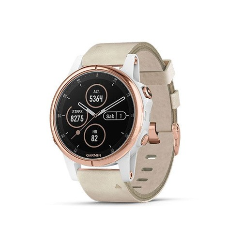 Garmin Fenix 5S Plus 42mm - Rose Gold With Beige Leather Band