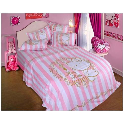 Rise Sprei Set Bed Cover Hello Kitty motif Ellegance Original Sanrio  license Ukuran 120X200