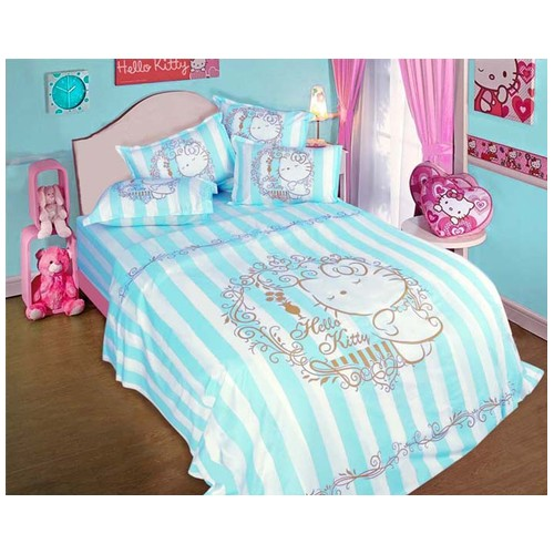 Rise Sprei Set Bed Cover Hello Kitty motif Ellegance Blue Original Sanrio license Ukuran 120X200