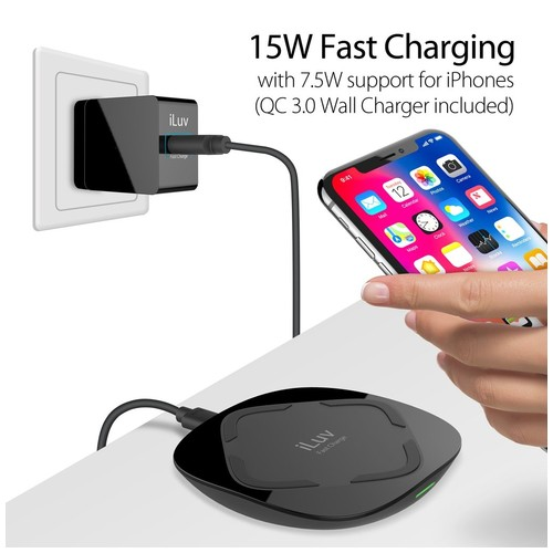 iLuv Qi Certified Fast Wireless Charger 7.5W + 3.0 Qualcomm adapter - IAD8X15VEBK