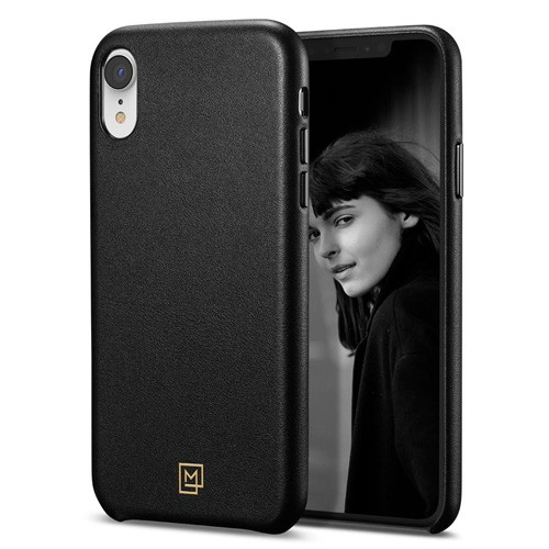 Spigen La Manon Calin Leather Case for iPhone XR - Chic Black