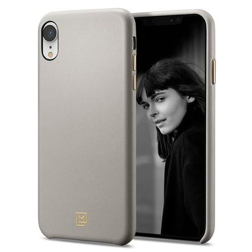 Spigen La Manon Calin Leather Case for iPhone XR - Oatmeal Beige