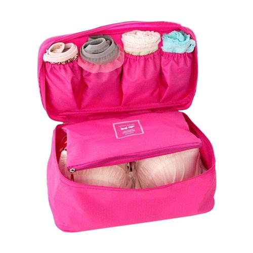 Monopoly Travel Bra & Underwear Organizer Tas Bra Pakaian dalam Travel - Dark Pink