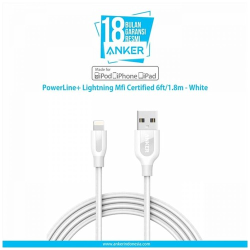 Anker PowerLine+ Lightning Cable 6ft/1.8m - White [A8122022]