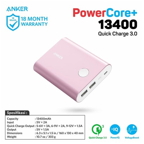 Anker PowerCore+ Power Bank 13400mAh Quick Charge 3.0 - Pink [A1316H51]