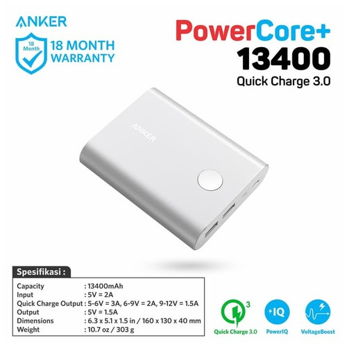 Anker Power Bank PowerCore+ 13.400 mAh with Quick Charge 3.0 - Silver [A1316H41]