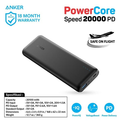 Anker PowerCore Speed Power Bank 20.000 mAh with Power Delivery - A1275011
