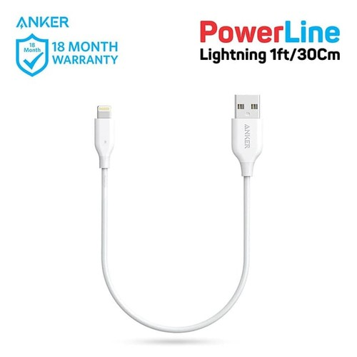 Anker Powerline Lightning Cable 1ft White - A8114021