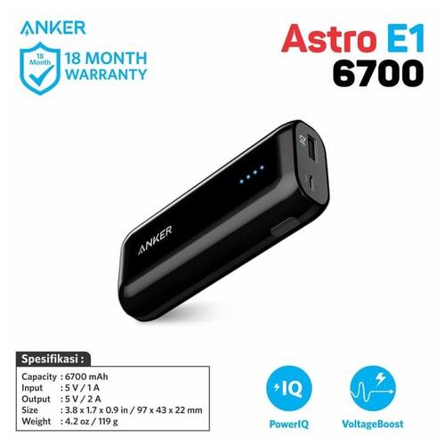 Anker Astro E1 Power Bank 6700 mAh Black A1211H15
