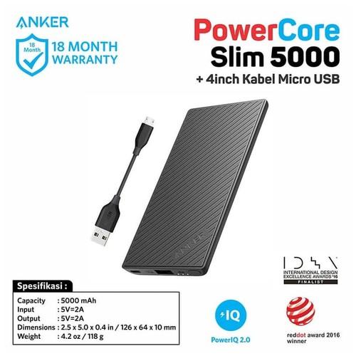 Anker PowerCore Slim Power Bank 5000 mAh + Kabel Micro USB 4inch  [B1250H12]