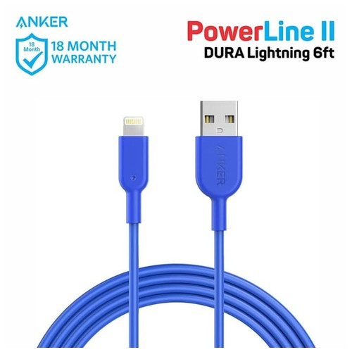 Anker Powerline II Lightning Cable 6ft Blue A8433H31