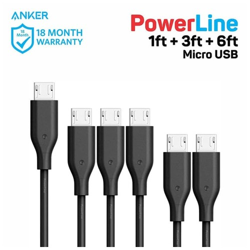 Anker PowerLine 1ft + 3ft + 6ft Micro USB - Black [B8133012]