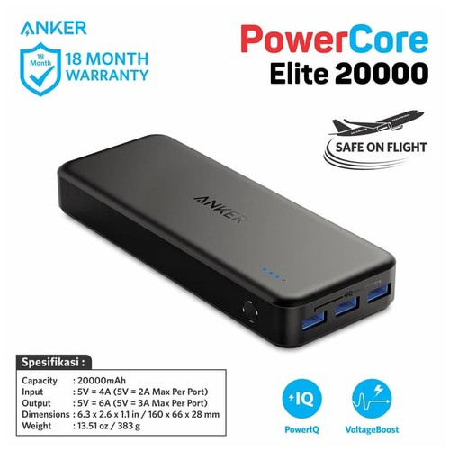 Anker PowerCore Elite Power Bank 20.000 mAh with 3 PowerIQ + 6A Output - A1273H11
