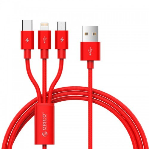 Orico UTS-12 3 in 1 3A Nylon Braided Charge & Sync Cable 1.2 Meter - Red