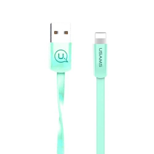USAMS Flat Kabel Data iPhone Teknologi Smart Chip-Green