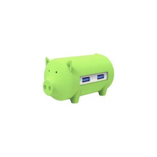 Orico H4018-U3 Litte Pig Hub with Card Reader - Green