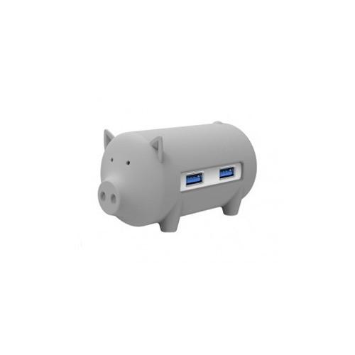 Orico H4018-U3 Litte Pig Hub with Card Reader - Grey