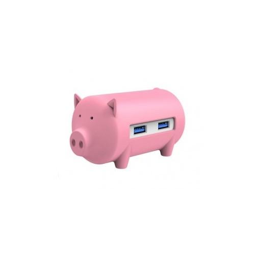 Orico H4018-U3 Litte Pig Hub with Card Reader - Pink