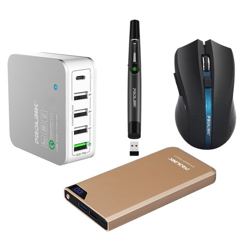 Prolink Power Bank PPB1001 + Quick Charger + Wireless Mouse + Laser Pointer - Black