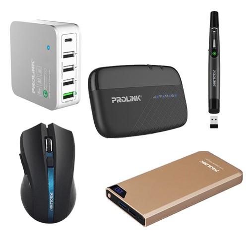 Prolink Power Bank Rose + Charger + Wireless Mouse - Grey +  Laser Pointer - Black + Modem Mifi + Speaker - Red