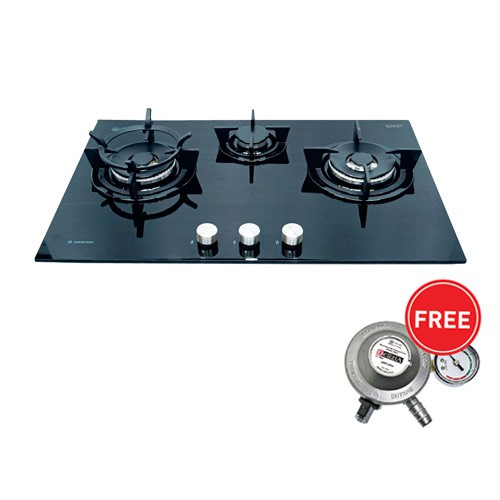 Ariston Built in Gas Hob DD7632W1ABKI + Regulator Delizia
