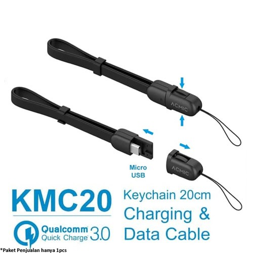 Acmic Micro USB Fast Charging Cable 20cm (KMC20) - Black