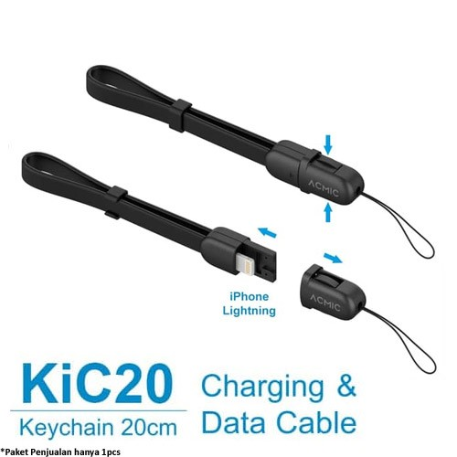 Acmic Lightning Fast Charging iPhone Cable 20cm (KiC20) - Black