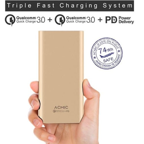 Acmic S20 Pro Power Bank Quick Charge 3.0 + Power Delivery 20.000 mAh - Gold