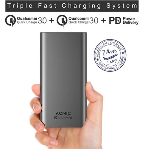 Acmic S20 Pro Power Bank Quick Charge 3.0 + Power Delivery 20.000 mAh - Space Grey