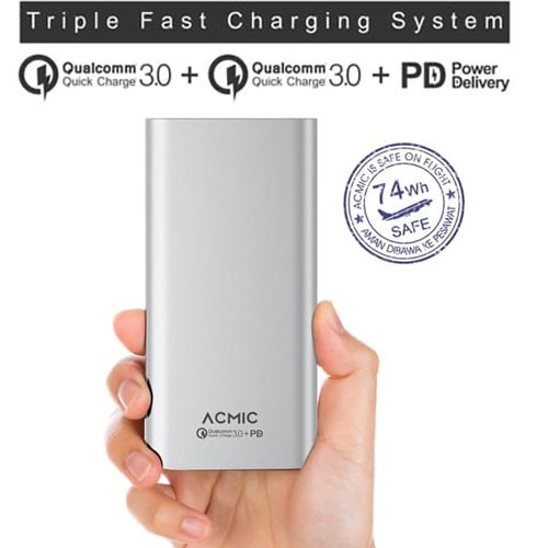 Acmic S20 Pro Power Bank Quick Charge 3.0 + Power Delivery 20.000 mAh - White Silver
