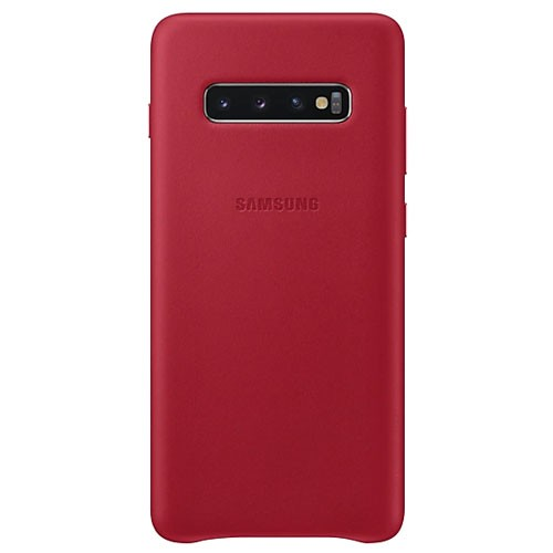 Samsung Leather Cover Case for Galaxy S10+ Red