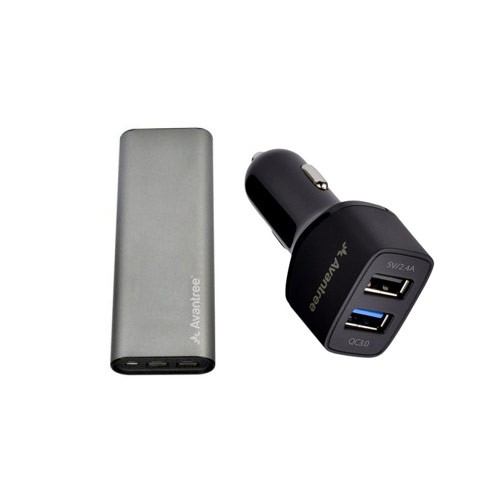 Avantree Powerbank 13200mAh TR705 + Avantree Dual USB Car Charger with Quick Charge 3.0 - Black