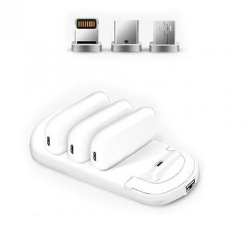 Magnetic Charging Station 4000mAh and Charging Pack of 3 1000mAh M20 - White