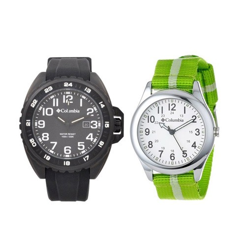 Columbia Oversized CA-003-001 - Black + Columbia Unisex Fieldfox Watch CA016-340 - Green