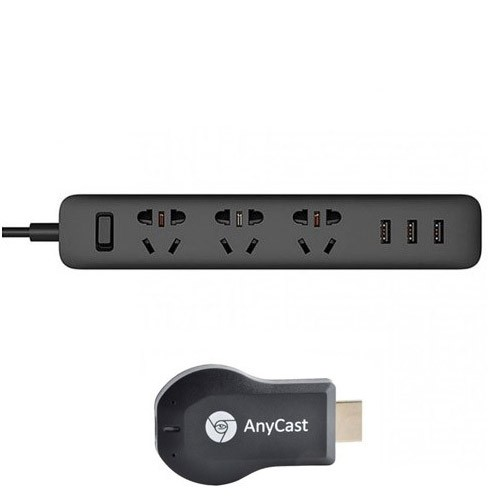 Xiaomi Smart Power Strip Plug Adapter 3 USB Port 2A - Black + Anycast M2 Plus - Black