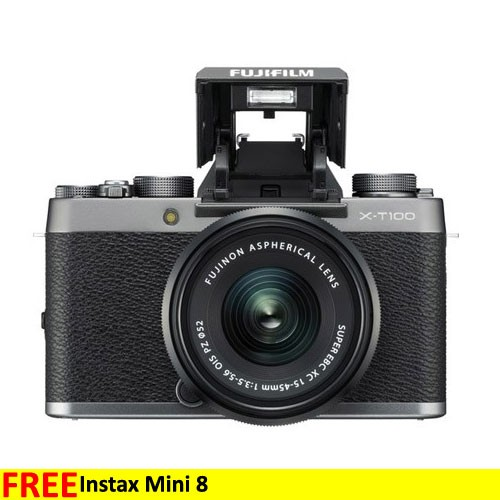 Fujifilm Mirrorless Digital Camera X-T100 with 15-45mm Lens - Dark silver