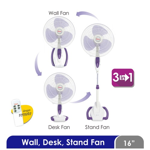 Cosmos 16-S088 - Kipas Angin 3in1 - 16 inch (Wall Desk Stand) (with Remote)