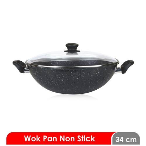 Cosmos CW 34 MBC F - Wok Pan 34 cm - Marble with Cover