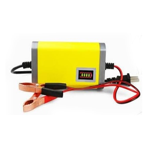 Accu Charger Portable 2A-12V Charge Aki Motor Mobil - Yellow