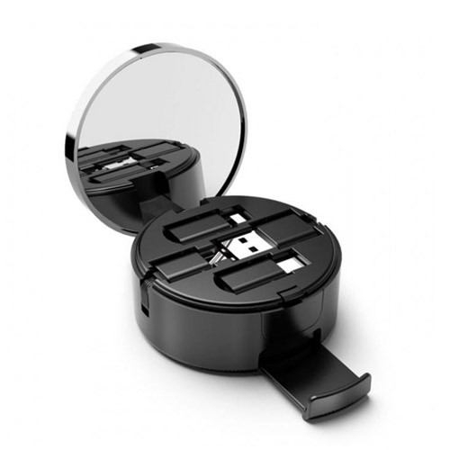 Oatbasf 3 in 1 Retractable Data Charging Cable Powder Box Mirror - 1M - Black