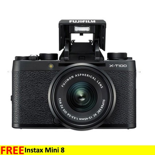 Fujifilm Mirrorless Digital Camera X-T100 with 15-45mm Lens - Black