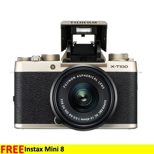 Fujifilm Mirrorless Digital Camera X-T100 with 15-45mm Lens - Champaigne Gold