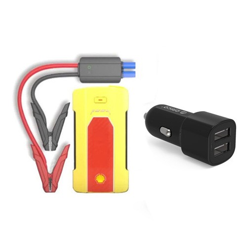 Shell Jump Powerbank Starter + USB Charger SH990 - Yellow Jaune Amarillo Bundling Orico 2 Port Car Charger - UCL-2U