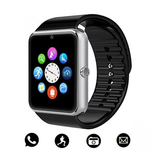 GT08 Bluetooth Smart Watch Large Touch Screen Battery TF Card Camera - Silver